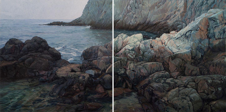 Cabo de Gata 01 Almería Contemporary Seascapes Painting 200 x 100 cm