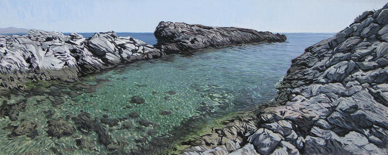 Marina del Este 01 Almuñécar Sea View Painting Sea Water and Rocks
